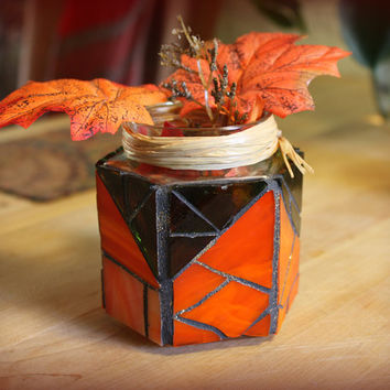 Stained Glass Pumpkin Jar Candle Holder, Orange Glass Vase Jar, Orange Mosaic Candle Holder