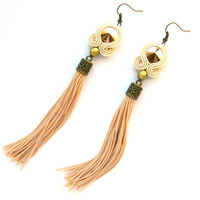 Gold tassel earrings, art jewelry earrings, soutache embroidered earrings, boho chic earrings, swarovski earrings, nude tassel earrings