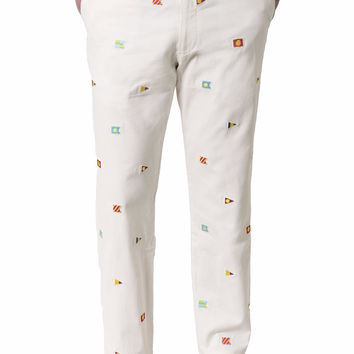Harbor Embroidered Pant White Canvas with Burgees