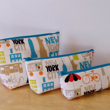 NYC theme Bag Set Waterproof Lining Zippered Cosmetic Make Up Bag/Pouch/Accessory/Gadget Case/Toiletry/Bridesmaid Gift
