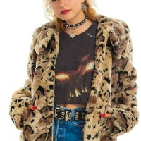 Vintage Y2K Party Animal Faux Fur Coat - One Size Fits Many