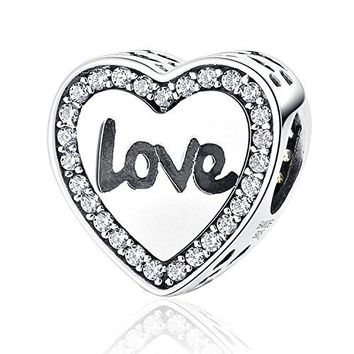 925 Sterling Silver Hope Inspirational Charms Bead Faith Charm with AAA CZ Love Heart Charms for Bracelet