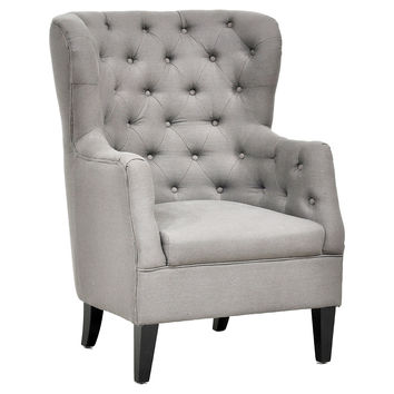 Cafer Wingback Chair, Gray, Wingbacks