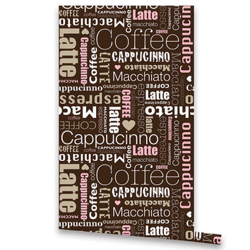 Self Adhesive WALLPAPER, Removable Vinyl Wallpaper, Peel & Stick, Repositionable Wallpaper Coffee Cappuccino Pattern