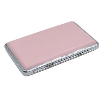 1pc Pink Leather Case For Cigarette Woman Slim Cigarette Case Box Hold For 14Pcs 100mm Cigarettes XN245