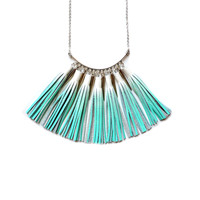 Mint Statement Necklace with Ombre Leather Tassels and Silver Spikes | Boo and Boo Factory - Handmade Leather Jewelry