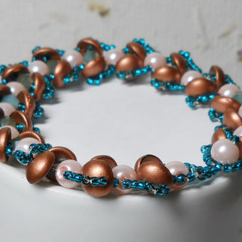 Beaded Bracelet, Copper, pearls, teal seed beads, beadweaving, glass beads, pearls buttonclosure Love, Romantic, Beach, Sanibel Island