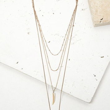 Layered Faux Stone and Matchstick Necklace