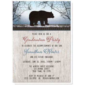 Rustic Bear Wood Red Blue Graduation Party Invitations