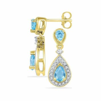 10kt Yellow Gold Women's Pear Lab-Created Blue Topaz Dangle Diamond Earrings 1-1-2 Cttw - FREE Shipping (US/CAN)