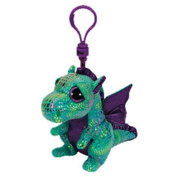 "Ty Beanie Boos Cinder the Green Dragon Clip 3"" Keychain Plush Stuffed Animal Collectible Doll Toy"