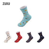 2017 cotton cute cartoon socks Lucky cat in the tube socks men and women size 35--40