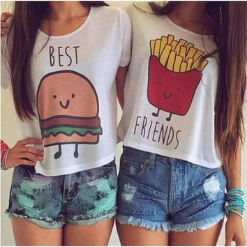 Summer Women T Shirt Fashion Casual O Neck Short Sleeve Printed Ladies T-shirt Hamburg Chips Crop Top Best Friends T Shirt