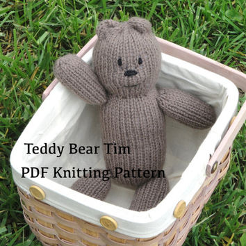 "Teddy Bear Tim PDF Knitting Pattern, Easy Knit Bear, Worsted Yarn, 12"" Toy, Simple & Quick Floppy"