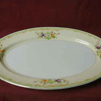Made In Japan, China Dinnerware Red Circle, Purple, Rose Oval serving Platter