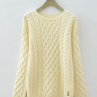 Twisted Pattern Long Sleeve Knitted Sweater