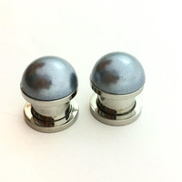 Dark grey pearl plugs / 2g, 0g, 00g, 1/2 inch / pearl gauges / bridesmaid jewelry / grey plugs / professional plugs / gray gauges