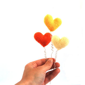 3 decorative hearts, crochet heart ornaments, amigurumi 3d heart decor sunshine summer topper cake, party table decor, yellow, orange, ivory