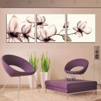 JHLJIAJUN 3pcs Yellow Orchid Pictures Painting Canvas On The Wall For Living Room Wall Module Painting Mural Art Cuadros Poster