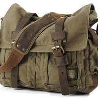 Military Canvas Messenger Bag Medium Size