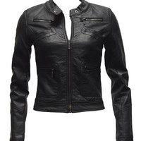 Ladies Black Synthetic Leather Jacket Button Collar