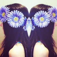 Purple Daisy Crown Perfect for Festivals Raves by PeaceLoveStuds