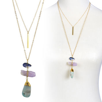 Three Natural Stone with Double Layered Gold Long Chain Necklace