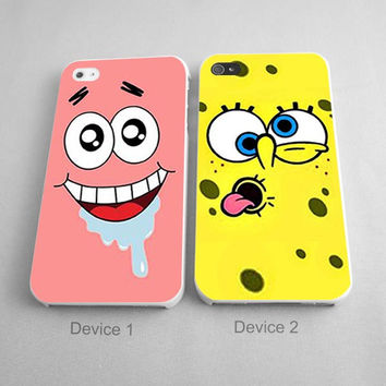 Patrick And Spongebob Silly Face Couples Phone Case iPhone 4/4S, 5/5S, 5C Series, iPhone 6, 6plus - Hard Plastic, Rubber Case