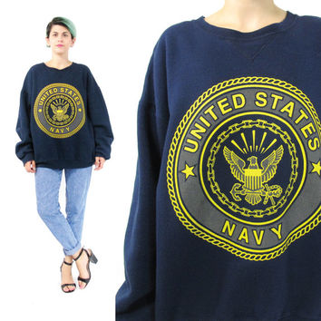 Vintage United States Navy Sweatshirt 90s USA Jumper Navy Blue Fleece Mens Crewneck Sweatshirt Screen Printed Unisex Pullover Sweater (L)