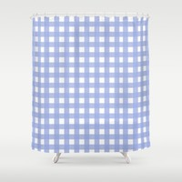 Blue Check pattern Shower Curtain by Allyson Johnson | Society6