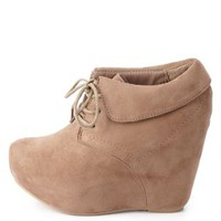 Cuffed Lace-Up Wedge Booties by Charlotte Russe - Taupe