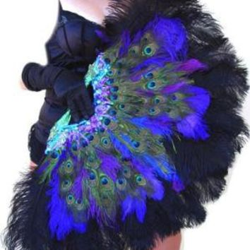 Burlesque Showgirl PEACOCK&Ostrich FEATHER FAN by sajeeladesign