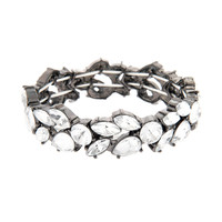 Hematite and Crystal Leaves Stretch Bracelet