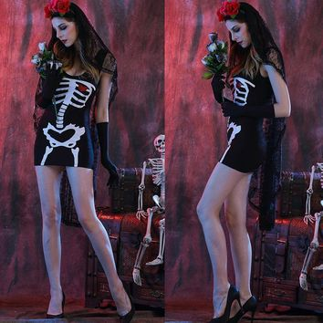 Adult Skeleton Day of The Dead Costume Women's Sexy Sugar Skull Dia Flower Fairy Halloween ghost vampire bride Fancy DressE0036