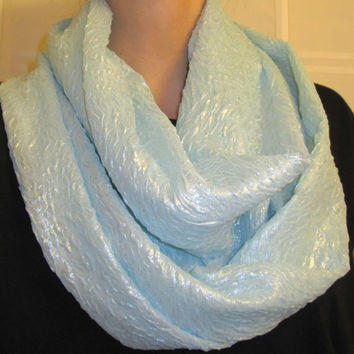Iridescent Teal, Homemade, Infinity Scarf.