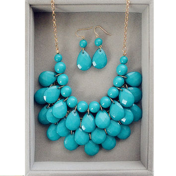 Teal Teardrop Statement Bib Necklace Kate Spade Inspired - Payless4Fab Exclusive