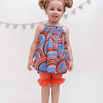 Solid Coral Double Ruffle Shorties Shorts