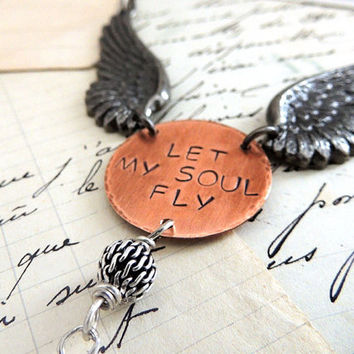 Let My Soul Fly Winged Necklace, Long Steampunk Necklace, Angel Wings, Hand Stamped Quote, Aquamarine Blue Wire Wrapped Briolette