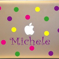 Custom Macbook Polka Dot Decals Sticker Personalized for PC MAC Laptop | MakeItMineDesigns - Techcraft on ArtFire
