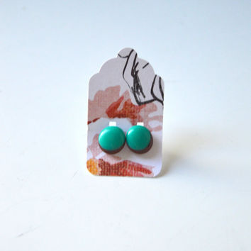 Stud Earrings - Brown and Parrot Peacock Green Stud Earrings - Tiny Stud Earrings - Post Earrings - Colorful Earrings - Enamel Jewelry Studs