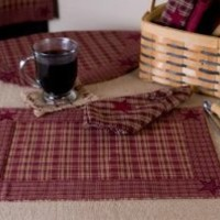 "(2) Victorian Heart ""Burgundy Star"" Country Placemats"