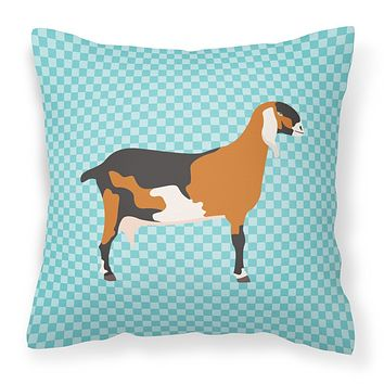 Anglo-nubian Nubian Goat Blue Check Fabric Decorative Pillow BB8057PW1818