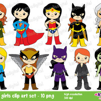 Superhero girls  - wonder woman, cat woman, she hulk, super girl- Personal & commercial use - clip art set