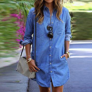 Women's Denim Dress/Casual Loose Long Sleeve Button Shirt/Mini Vestidos Long Tops Blouses Plus Size