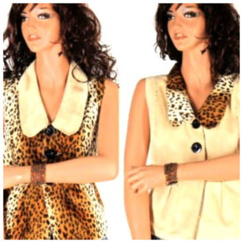 90s reversible faux leopard and suede vest, leopard print top size m, boho animal print top, SunnyBohoVintage