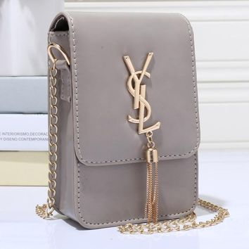 YSL Women Shopping Leather Metal Chain Crossbody Shoulder Bag Satchel-3