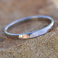 Minimalist 925 Sterling Silver Stacking Ring Size 6 Hammered Flat Band 2 mm wide