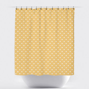 Mustard/White Mini Polka Dot Shower Curtain