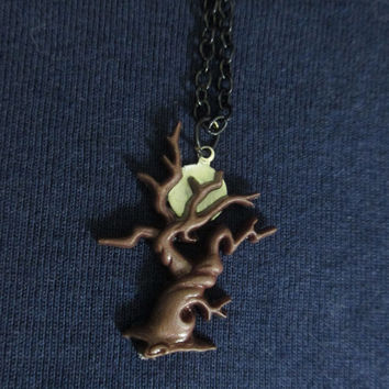 Full Moon Hidden in the Trees Necklace