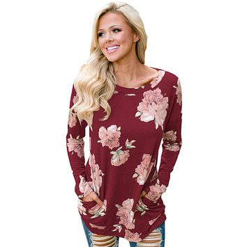 Floral Print Elbow Patch Burgundy Long Sleeve Top